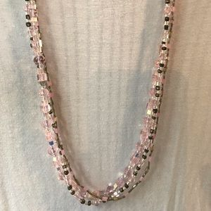 Pink, brown, bronze and crystal beaded necklace